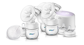 Manual electric breast pump and nipples Philips Avent